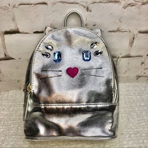 BETSEY JOHNSON Silver Metallic Kitty Backpack